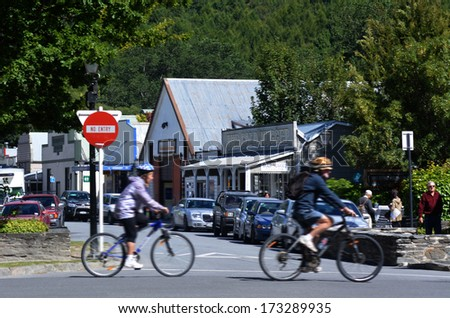 ARROWTOWN,NZ - JAN 17:Arrowtown on Jan 17 2014.It's a popular travel destination with well preserved buildings used by European and Chinese immigrants dating from the gold mining days of the town. - stock photo
