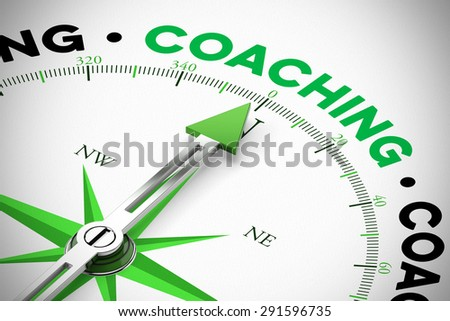 Arrrow of compass pointing to the word Coaching (3D Rendering) - stock photo