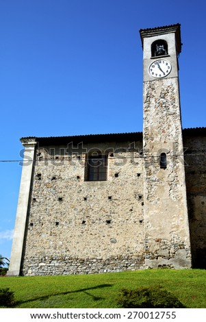 arsago seprio old abstract in  italy   the   wall  and church tower bell sunny day  - stock photo