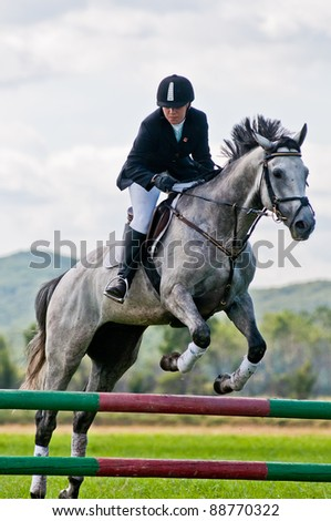 ARSENEV, RUSSIA - SEPTEMBER 03:  Unidentified rider in action horse and jumps over a hurdle at horse on the show jumps Cup of Governor of Primorsky Territory, 2011, on Sept 03, 2011 in Arsenev, Russia - stock photo