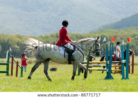 "ARSENEV, RUSSIA - SEPTEMBER 03:  Unidentified rider in action rides horse and jumps at the Riding show ""The Cup of the Governor of the Primorsky Territory, 2011"" on Sept 03, 2011 in Arsenev, Russia"