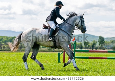 "ARSENEV, RUSSIA - SEPTEMBER 03:  Unidentified rider in action rides horse and jumps at the Riding show ""The Cup of the Governor of the Primorsky Territory, 2011"" on Sept 03, 2011 in Arsenev, Russia - stock photo"