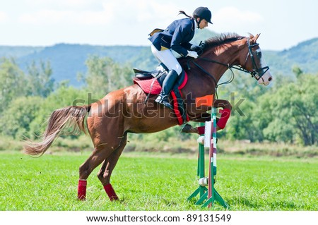 "ARSENEV, RUSSIA - SEPTEMBER 03:  Unidentified rider in action rides horse show jumps at the Riding show ""The Cup of the Governor of the Primorsky Territory, 2011"" on Sept 03, 2011 in Arsenev, Russia"