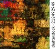 art abstract acrylic and pencil background in gold yellow, red, brown, green and black colors - stock photo