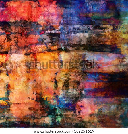art abstract acrylic and pencil colorful background with coral red, orange, black and blue blots - stock photo