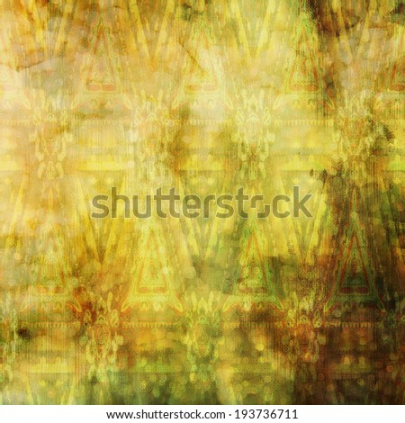 art abstract acrylic and pencil colorful background with damask pattern in yellow, green and brown colors - stock photo