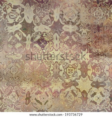 art abstract acrylic and pencil light colorful background with damask pattern in beige and brown colors - stock photo