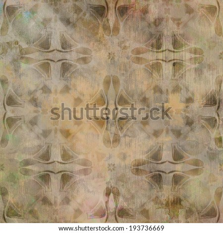 art abstract acrylic and pencil light colorful background with damask pattern in brown and beige colors - stock photo