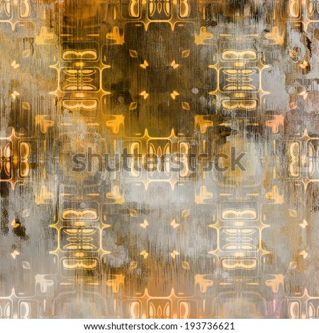 art abstract acrylic and pencil light colorful background with damask pattern in grey, old gold, orange and brown colors - stock photo