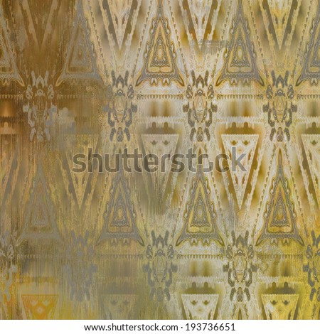 art abstract acrylic and pencil light colorful background with damask pattern in white, beige, grey and brown colors - stock photo