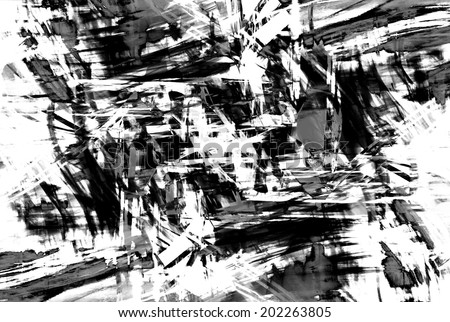 art abstract black and white pattern background in the style of old grunge graphics - stock photo
