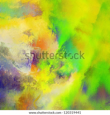 art abstract bright green, grunge textured background with yellow, orange and violet blots - stock photo