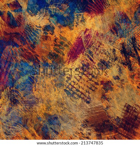 art abstract colorful acrylic and pencil background in gold, orange, brown, blue and purple colors - stock photo
