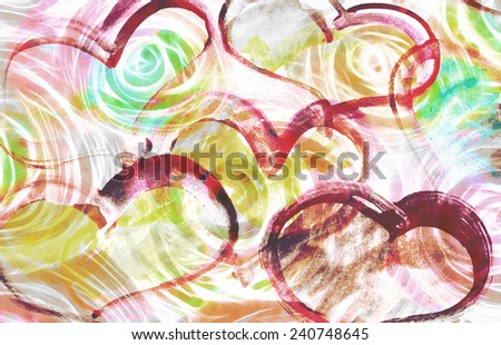 art abstract colorful background with hearts, grunge - stock photo