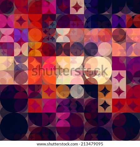 art abstract colorful geometric seamless pattern; tiled background in fuchsia, pink, red, orange, coral, vanilla, purple and violet colors - stock photo