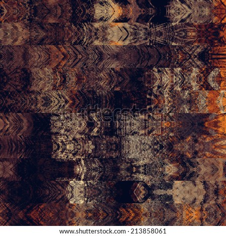 art abstract colorful graphic background; geometric border stylized pattern in brown, gold, orange and black colors: vertical seamless ornament - stock photo