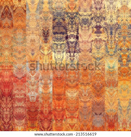 art abstract colorful graphic background; geometric border stylized pattern in orange, beige, gold, purple, violet and grey colors - stock photo