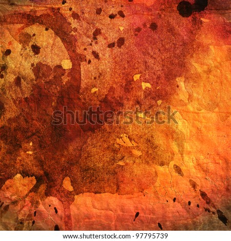 art abstract colorful watercolor background in orange, red and brown colors - stock photo