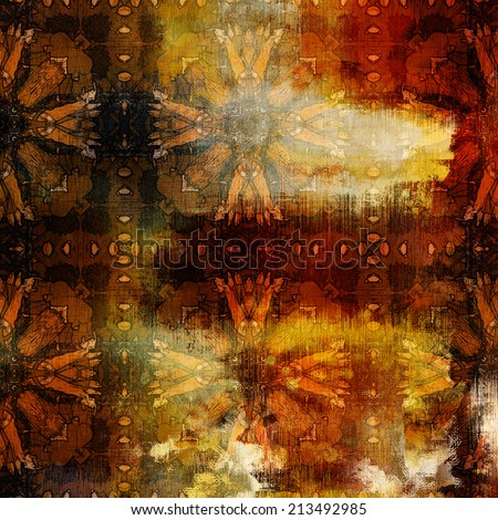 art abstract colorful watercolor background with damask vintage tiled pattern in gold, orange, red and brown colors - stock photo