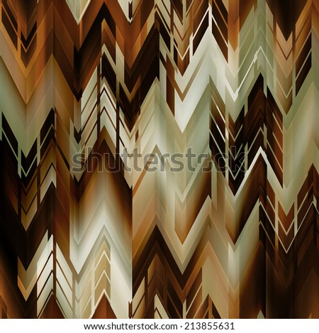 art abstract colorful zigzag geometric vertical seamless pattern background in brown, olivine, orange, white and black colors - stock photo