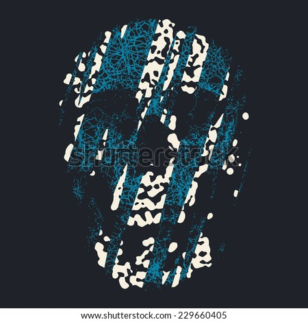 Art abstract contrast shapes textured human skull print template.  - stock photo