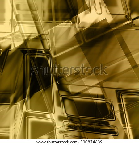 art abstract geometric monochrome pattern in Mondrian style; glass textured blurred background in black and old gold colors