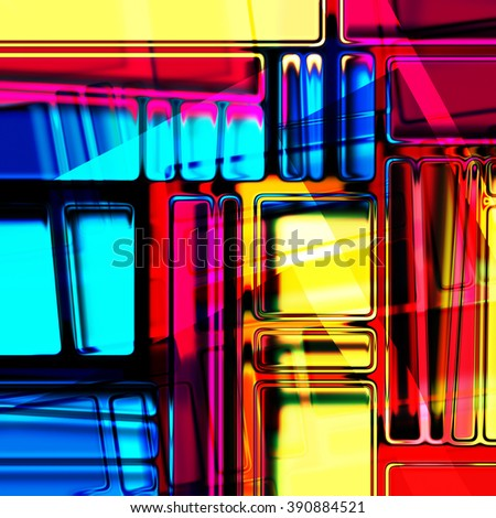 art abstract geometric suprematism colored pattern in Mondrian style; glass textured blurred background in bright rainbow and gold colors - stock photo