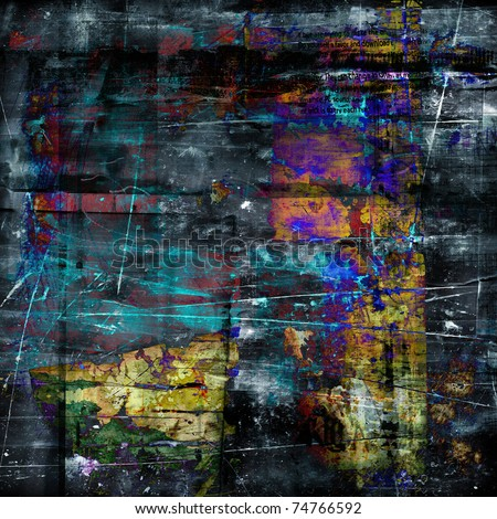 art abstract graphic grunge texture dark blue, grey, black, orange and gold background with chaotic lines