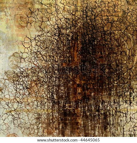 art abstract graphic monochrome grunge background in beige, old gold, brown, orange and black colors - stock photo