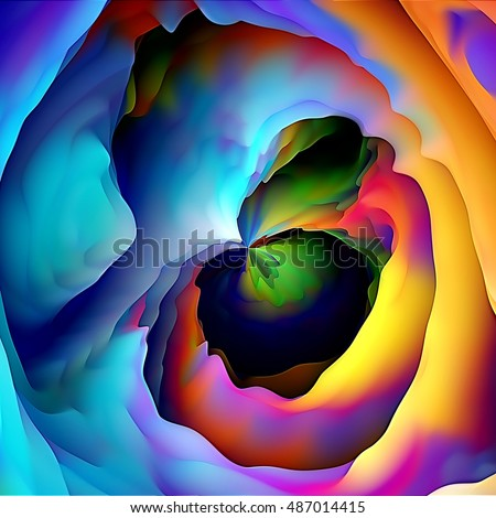 art abstract graphic spherical and  fractal wave  blurred colorful background in rainbow colors; concept geometric pattern; 3d effect
