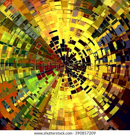 art abstract graphic spherical colored background in bright green, orange, gold and red colors; geometric pattern - stock photo