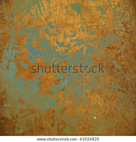 art abstract grunge chaotic background in gold and jungle green colors