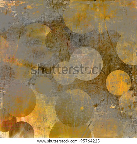 art abstract grunge geometric textured golden and grey background with circles - stock photo