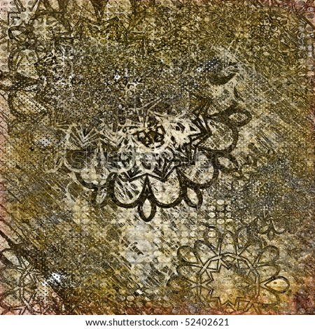 art abstract grunge graphic textured background with stylization damask flowers