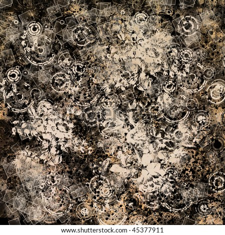 art abstract grunge monochrome chaotic geometric background in black and beige colors - stock photo