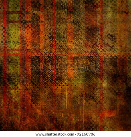 art abstract grunge texture red and green background with halftone - stock photo