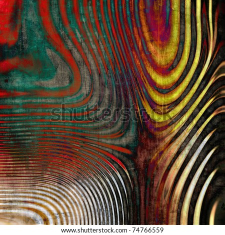 art abstract grunge textured background with waves red, green, white, brown and yellow colors - stock photo
