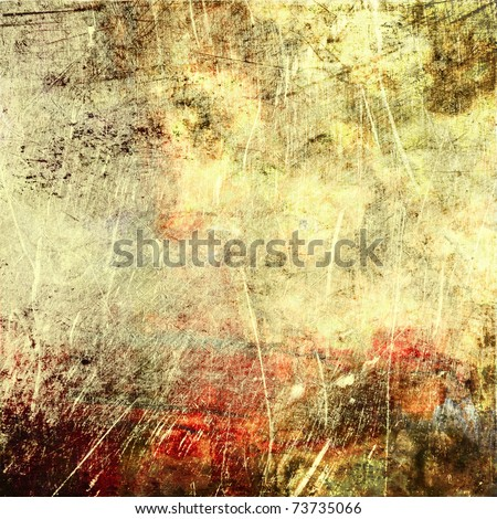 art abstract grunge textured beige background with red, grey and brown blots - stock photo