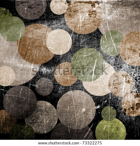 art abstract grunge textured black background with green, beige and brown circles - stock photo