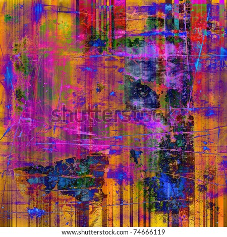 art abstract grunge textured rainbow background with pink, orange, blue and red blots - stock photo