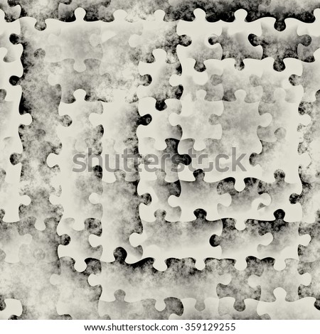 art abstract monochrome black and white graphic puzzle background; seamless geometric pattern  - stock photo