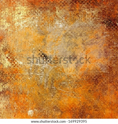 art abstract monochrome watercolor and graphic  background in orange, old gold, yellow, red, brown and beige colors with halftone