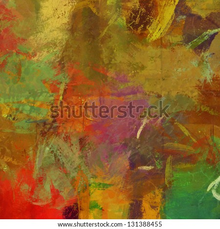 art abstract painted background with red, beige, yellow and green blots - stock photo