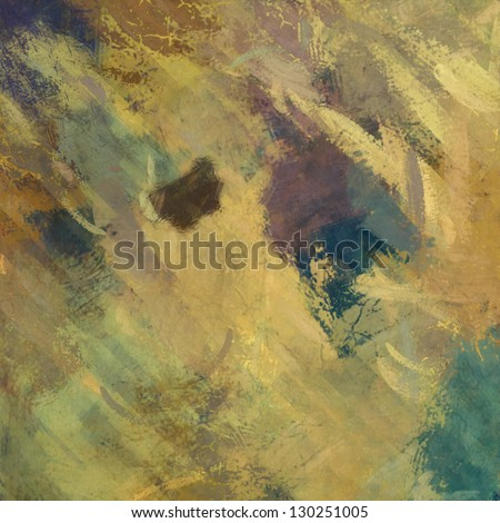 art abstract painted old gold and beige background with green, brown and purple blots - stock photo
