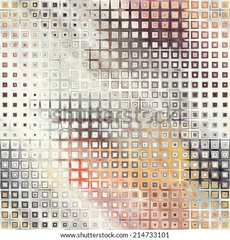 art abstract pixel geometric seamless pattern; light background in white, beige, orange, red and grey colors with halftone - stock photo