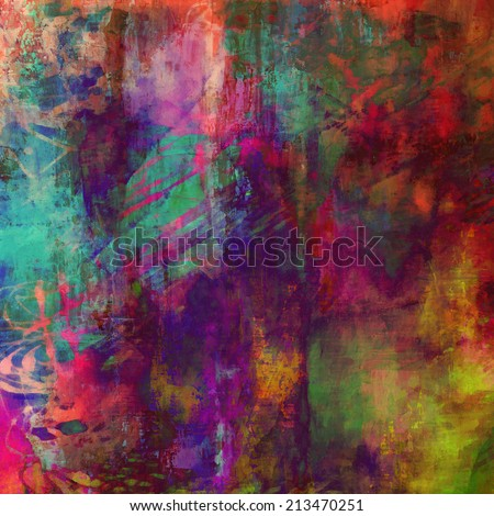 art abstract rainbow chaotic watercolor background with pink, fuchsia, shades of red, gold, green and violet colors - stock photo