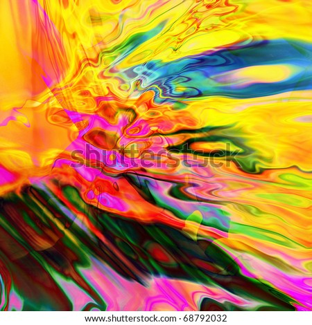 art abstract rainbow pattern background with bright gold, pink, fuchsia, blue, orange and green blurred blots - stock photo