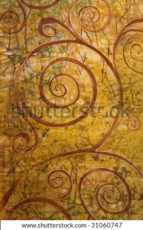 art, abstract spiral depicted on silk - stock photo