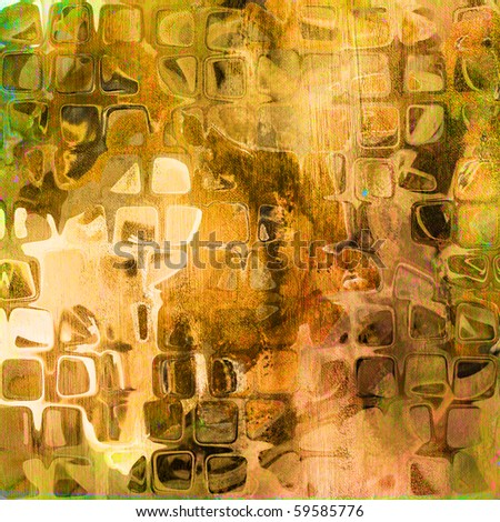 art abstract tiles background in beige, orange, green and brown colors - stock photo