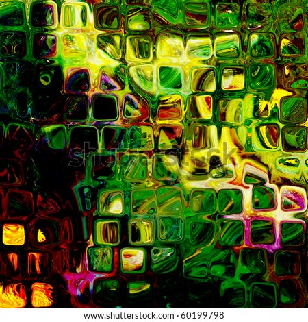 art abstract tiles background in vibrant green colors - stock photo